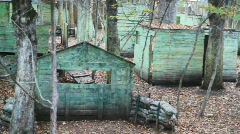 Review of platform for game in paintball with small houses and strengthenings Stock Footage