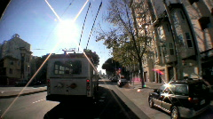 P.O.V. Fish-eye of San Francisco Tramcar Stock Footage