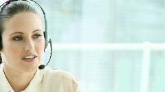 Elegant businesswoman with headset on Stock Footage