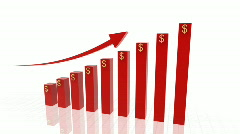 3d growing business chart - stock footage