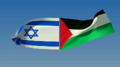 Loopable Israel and Palestine Flags Stock Footage