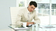 Concentrated businessman writing in his agenda Stock Footage