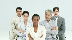 Portrait of a self-assured business group - stock footage