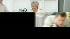 Attentive grandparents having fun with their family - stock footage