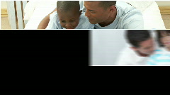 Video panel of attentive parents having fun with their children - stock footage