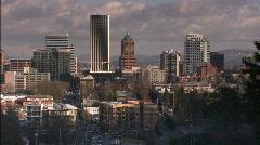 Pan of Portland Skyline Stock Footage