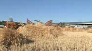 Tractor and Wagon at Sunrise Stock Footage