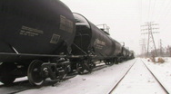 Freight train in snow. Stock Footage