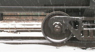 Freight train wheels in snow. Stock Footage