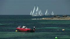 Catamaran and sailing boats Stock Footage