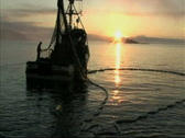 Fishing boat and nets Stock Footage