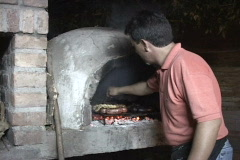 Argentina-Cooking-Stone-Fireplace Stock Footage