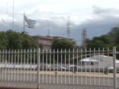 Stock Video Footage of Argentina Flag and Helicopter Shot from Road