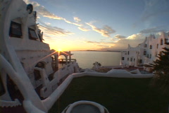 Uruguay-Punta-Del-Este-Casapueblo-Hotel-Sunset Stock Footage