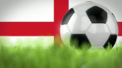 Soccer Ball in front of three flags - stock footage