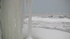 Eroded limestone coastline with big icicles on the island of Gotland Stock Footage