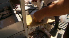 Man preparing fish at market Stock Footage