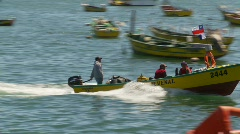 Men in fishing skiff Stock Footage