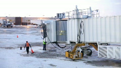Workers at Airport Gate B17 Stock Footage