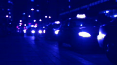 Late night taxi stand. Defocused. Stock Footage