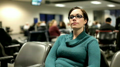 Girl Waiting in an Airport Stock Footage