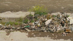 The environment, pollution on river, Santiago  Stock Footage