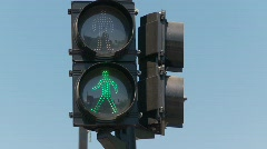 Flashing green pedestrian walk lights  Stock Footage