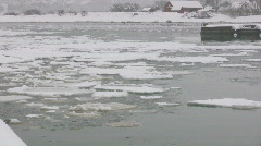 Small harbor on the island of Gotland in Sweden during winter - stock footage