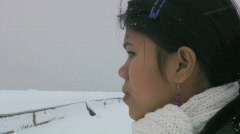 Filipina in an harbor during a cold winter day in Sweden Stock Footage