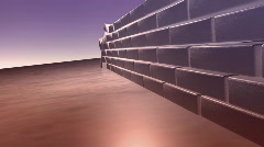 134 bricks falling barracade breaking through Stock Footage
