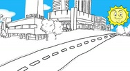 Animated Town Stock Footage