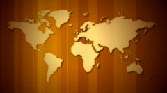 World map orange with lines loop Stock Footage