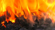 HD Real inferno with smoke and flame in portable blacksmith, closeup Stock Footage