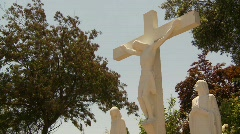 Religion and faith, crucifix of christ, framed with trees Stock Footage