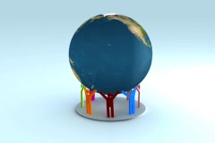 Colorful People holding the earth 3d animation, loopable ntsc Stock Footage
