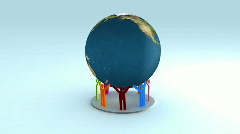 Colorful People holding the earth 3d animation, loopable 1080p Stock Footage