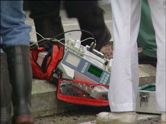 Defibrillator on the scene of a car accident Stock Footage