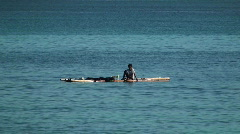 Boy on raft #1 - stock footage