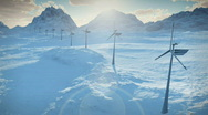 (1152) Electricity Wind Turbines Farm Power Clean Alternative Energy Winter Snow Stock Footage