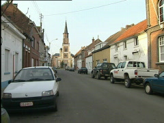 Doel, church at the end of main street Stock Footage