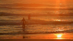 Large Group of Surfers at Sunrise - stock footage