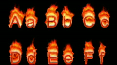 Loopable burning A, B, C, D, E, F Stock Footage