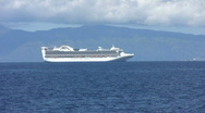 Stock Video Footage of White Cruise Ship off the coast of Lahaina, Maui