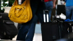 Unattended Luggage Bags in an Airport Terminal Stock Footage