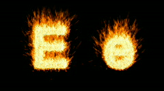Loopable burning E character - stock footage