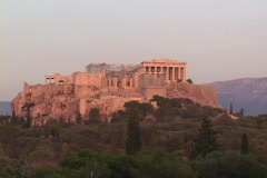 The Parthenon atop the acropolis in Athens, Greece - stock footage