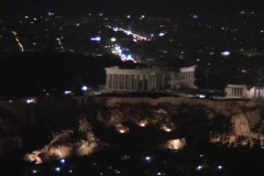 Night still of lit Parthenon atop the acropolis in Athens, Greece Stock Footage