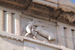 Close-up of metope in-situ sculpture on the south side of the Parthenon, Zoom Stock Footage