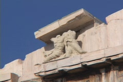 Close-up of pedimental scupltures atop on the west pediment, then zoom out, of Stock Footage