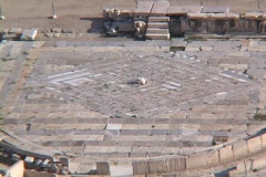 Stage of ancient Theater of Dionysus as seen from Acropolis in Athens, Greece Stock Footage